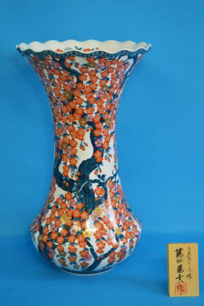 F1001F 染錦 しだれ桜文壺 高さ約49cm 幅約27.5cm