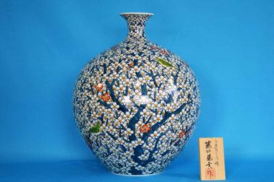 F1003F 染錦 紅白梅文壺 高さ約41cm 幅約33cm