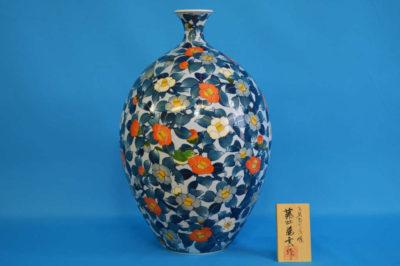 F1007F 染錦 藪椿文壺 高さ約45cm 幅約29cm