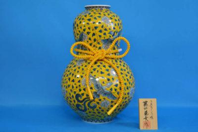 F1015F 染錦 牡丹鳳凰文(黄)瓢壺大 高さ約42cm 幅約28cm