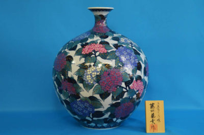 F1017F 染錦 紫陽花文壺 高さ約41cm 幅約33cm