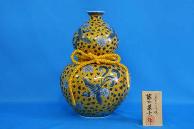 F1019F 染錦 牡丹鳳凰文(黄)瓢壺中 高さ約34cm 幅約24cm