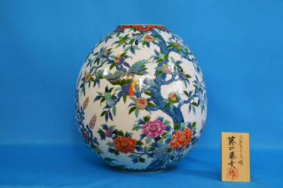 F1020F 染錦 花鳥文壺 高さ約33cm 幅約31cm