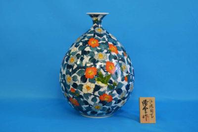 F1021F 染錦 藪椿文壺小 高さ約35cm 幅約26cm