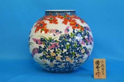 F1024F 染錦 草花文壺 高さ約28cm 幅約30cm