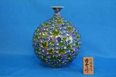 F1025F 染錦 葡萄りす文壺 高さ約32cm 幅約26cm