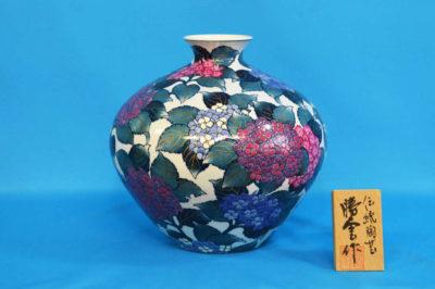 F1027F 染錦 紫陽花文壺小 高さ約23cm 幅約24cm