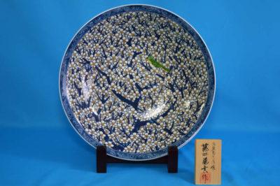 F2004F 染錦 白梅文尺3鉢(深型) 径約39cm 高さ9cm