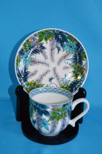 F3001F 染錦 しだれ藤文珈琲碗皿 口径7.5cm 台皿径約14.5cm 碗+台皿の高さ7.5cm
