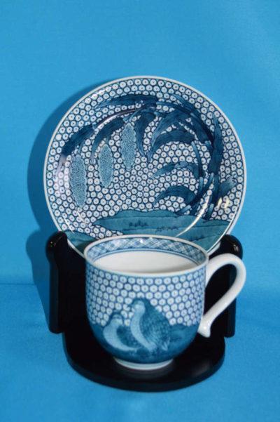 F3003F 染付 粟とうずら文珈琲碗皿 口径7.5cm 台皿径約14.5cm 碗+台皿の高さ7.5cm